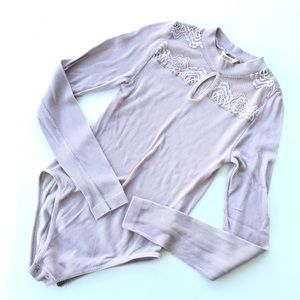 Forever 21 Pink Ribbed Lace Stretchy Bodysuit Sz M